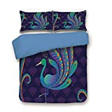 Eastern King Headboard Sale iPrint Duvet Cover Set,Blue Back,Ethnic,Peacock Bird with Oriental Feather Before Eastern Spiritual Animal Image Decorative,Purple Green Blue,Decorative 3 Pcs Bedding Set by 2 Pillow Shams,King Size
