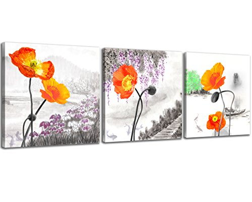 Set Framed Print Poppy - NAN Wind Small Size Poppy Flowers Canvas Prints 3 Panels Wood Framed Orange Poppy Print Wall Art Flowers Print Painting 12x12inches 3pcs/Set