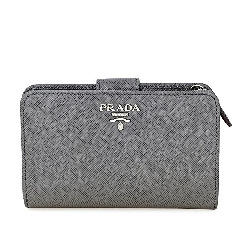 Prada Bi-fold Zip Saffiano Leather Wallet - Marmo