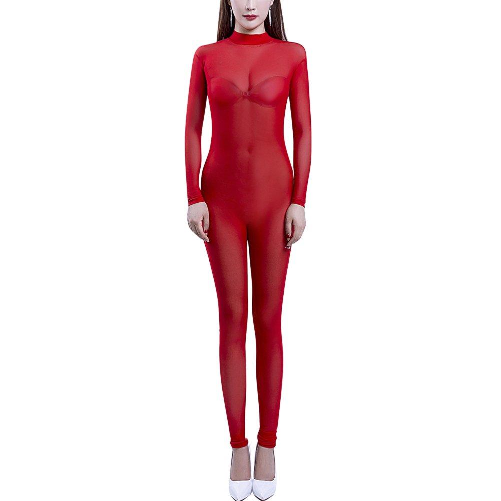 OBEEII Women Transparent Jumpsuit Lingerie Long Sleeve Bodysuit Backless Nightwear