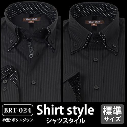 シャツスタイル(shirt style)ysh-2001/S M L LL 3L/ワイシャツ メンズ 黒 ボタンダウン おしゃれ