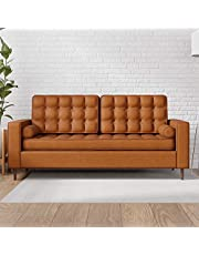 Edenbrook Lynnwood Upholstered Sofa with Square Arms and Tufting-Bolster Throw Pillows Included
