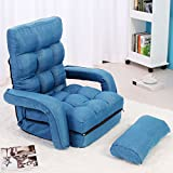 JAXPETY Blue Fabric Folding Chaise Lounge Sofa Chair Adjustable Floor Couch with Armrest