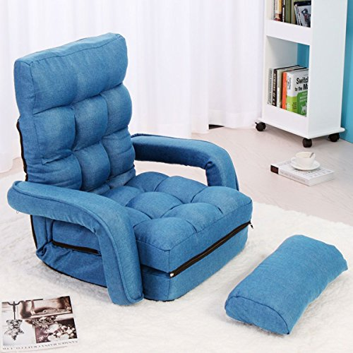 JAXPETY Blue Fabric Folding Chaise Lounge Sofa Chair Adjustable Floor Couch with Armrest by JAXPETY