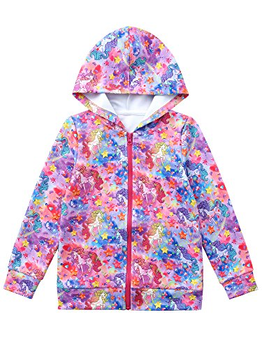 Jxstar Girls Hoodie Bomber Jacket Unicorn Print Long Sleeve Full Zip Pocket Coat Outwear Unicorn 160 ¡­ -
