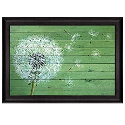 Wonderful Design, Made With Top Quality, Dandelion Being Blown Away Over Green Wood Panels Nature Framed Art
