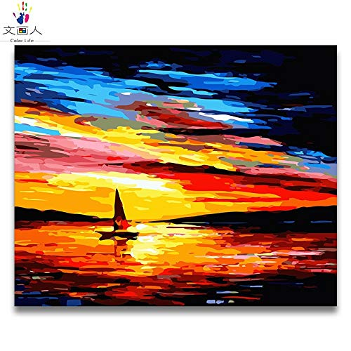 50x40 with frame 4129 KYKDY coloring by Numbers Abstract Seascape Sunrise Series Pictures Paintings by Numbers sea with colors Drawing Framed for Adults,2029,60x50 no Frame