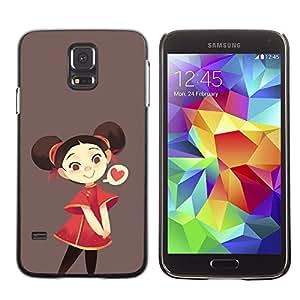 Be Good Phone Accessory // Dura Cáscara cubierta Protectora Caso Carcasa Funda de Protección para Samsung Galaxy S5 SM-G900 // Red Brown Love Kids Drawing Brown