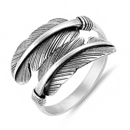 Unique Feather Solid Sterling Silver Women Wraparound Ring Size 9