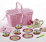 tin tea sets with basket - Delton Products Tin 18 Piece Tea Set with Basket, Pink Flower, 4