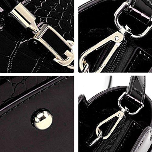 de de de d'épaule Sac modèle de de mode de main cuir en diagonale brevet modèle à Noir SANSJI crocodile cuir TnB7qwavw
