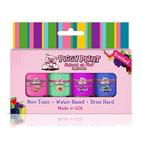Piggy Paint - 100% Non-toxic Girls Nail Polish, Safe, Chemical Free, Low Odor for Kids - 4 Polish Gift Set - Scented Fruit Fairy