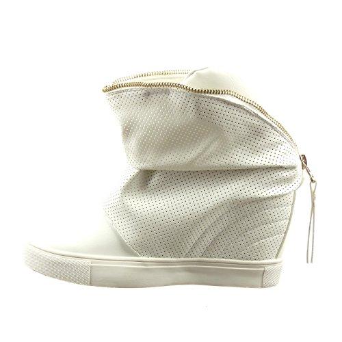 Sopily - Zapatillas de Moda Botines zapatillas de plataforma Tobillo mujer perforado cremallera Talón Plataforma 8.5 CM - Blanco