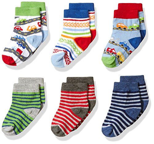 Jefferies Socks Baby Big Boys' Cars and Stripes Pattern 6 Pack, Multi, Infant