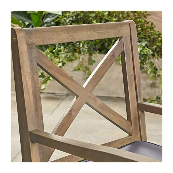 Christopher Knight Home 305777 Justin Outdoor 7 Piece Acacia Wood Dining Set, Teak, Gray Finish/Rustic Metal/Dark Gray - For the aspiring homemaker, one's dining table is akin to an artist's canvas. This outdoor dining set will transform your backyard patio or dining area into your own personal veranda, making every night a special occasion. Six comfortable chairs surround an exquisitely-constructed acacia wood table. Love your neighbor, share a meal, create memories that will last a lifetime Includes: One (1) Outdoor Dining Table and Six (6) Outdoor Dining Chairs. Cushion Material: Water Resistant Fabric. Frame Material: Acacia Wood. Table Leg Material: Iron Fabric Composition: 100% Polyester. Cushion Color: Dark Gray. Wood Finish: Gray. Leg Finish: Rustic Metal - patio-furniture, dining-sets-patio-funiture, patio - 51QP4zqlWwL. SS570  -
