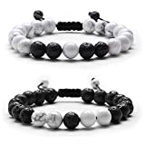 J.Fée Distance Bracelet Couples Adjustable Beaded Bracelet with Howlite Lava Stone Friendship Relationship Essential oil diffuser Gift for Men Women Grils Mom Dad Valentine's Day Mother's Day