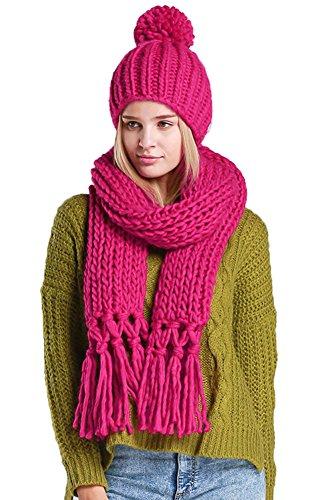 Aibag - Ensemble bonnet, écharpe et gants - À Carreaux - Femme -  rouge - Taille Unique