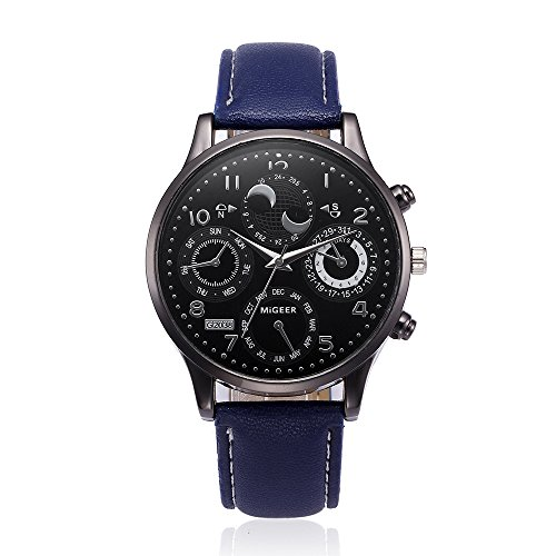 (Big Watch, Mens Watch, Retro Design Leather Band Quartz Sport Wrist Watch Men (Blue))