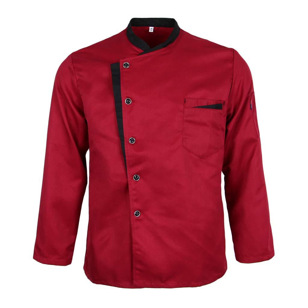 Fenteer Uniforme da Giacca da Cuoco in Spandex con Chiusura a Bottoni Maniche Lunghe Collo alla Coreana Tasca