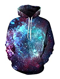 Haloon Unisex Simulation Printed Galaxy Pocket Drawstring Hooded Sweatshirt