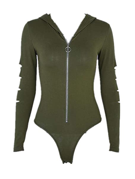 AYIYO Women s Sexy Zip Up Hollow Long Sleeves Hoody Bodysuit Playsuit (S 62e71e87f