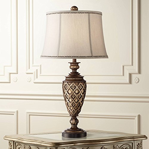 Nicole Traditional Table Lamp Light Bronze Urn Bell Shade for Living Room Family Bedroom Bedside Nightstand Office - Barnes and Ivy