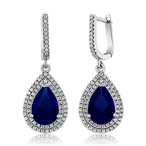 lue Simulated Sapphire 925 Sterling Silver Women's Earrings (Pear Shape Sapphire Earrings)