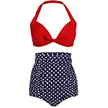 Ebuddy Women Vintage High Waist Retro Bikini Swimsuit Swimwear