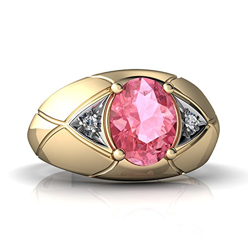 - 14K Yellow Gold Lab Pink Sapphire and Diamond Oval Men's Ring - Size 10