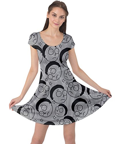 Rocket Gray Rick Planet Short Sun Sleeve Dress XS Womens CowCow Morty Morty 5XL Moon Science Space BaWxExH