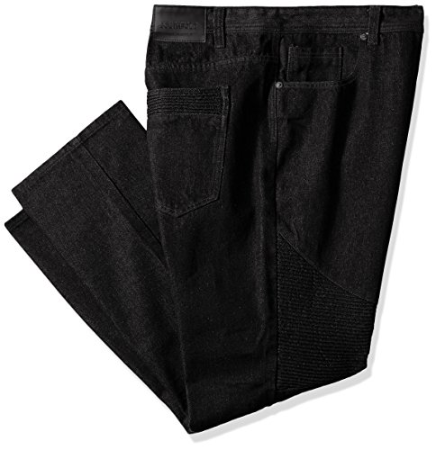 Southpole Men's Big and Tall Twill Pants Long In Thick Bull Twill Fabric and Moto Biker Details On Knees, Raw Black, - Men Black Big Thick