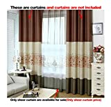 ASide BSide Sheer Curtains Voile Drapes Home Treatment Paris Style Eiffel Tower Printed Rod Pockets For Kitchen Child Room and Houseroom (1 Panel, W 52 x L 104 inch, Coffee)