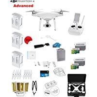 DJI Phantom 4 ADVANCED Quadcopter Drone with 1-inch 20MP 4K Camera KIT + 3 Total DJI Batteries + 2 64GB Micro SD Cards + Reader + Prop Guards + Range Extender + Charging Hub + Remote Harness+ HardCase