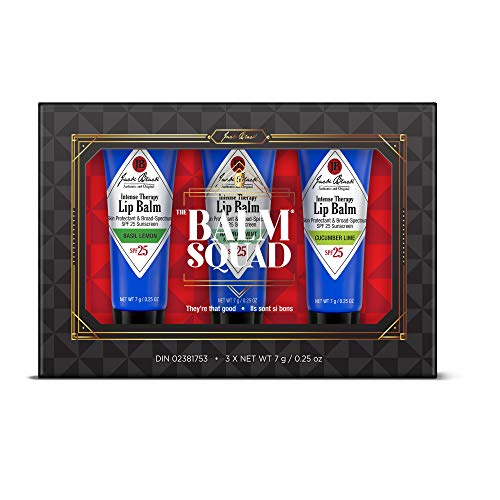 JACK BLACK - The Balm Squad Set - Intense Therapy Lip Balm SPF 25 Trio. Natural Mint & Shea Butter, Cucumber Lime, Basil Lemon. Exclusive Limited Edition Flavors. 3-Piece Kit. from Jack Black