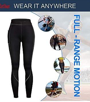 hohe Taille Kompression Neopren-Hose mit Seitentasche Slimming Thermo Leggings Workout Pants SptShapr Herren Sauna Gewichtsverlust