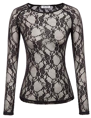 Women's Long Sleeve Sexy Sheer Mesh Lace Blouse Top(S,Black -