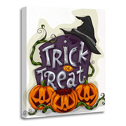 Emvency Painting Canvas Print Artwork Decorative Print Wooden Frame Cartoon Halloween of Tombstone with Trick Treat Written on It Spooky Clipart 20x30 Inches Wall Art for Home Decor