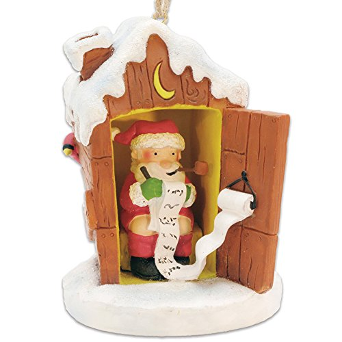 Johnson Smith Co. - CAPE SHORE (DOWNEAST CONCEPTS) Potty Santa Naughty/Nice List Pooping St. Nick Outhouse Christmas Ornament ()