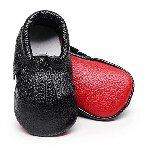 HONGTEYA Toddler Moccasins Boys Shoes - Soft Soles Girl Baby Shoes Fringe Buffalo Plaid Baby Moccasins