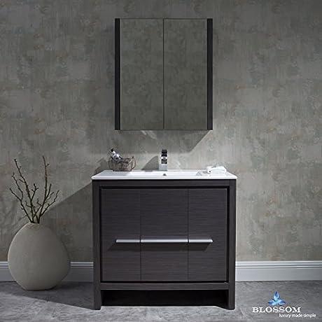 BLOSSOM 014 36 16 MC Milan 36 Vanity Set With Medicine Cabinet Silver Gray