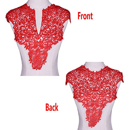 1 Sets (Front/Back) Pink/Red / Black/White Lace Neckline Collar Beautiful Flower Lace Applique Trim, Lace Fabric DIY Sewing Supplies(2Slices) (Red)