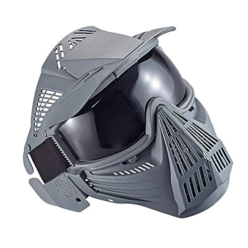 NINAT Tactical Paintball Mask, Airsoft Mask Full Face with Lens Goggles Eye Protection for CS Survival Games BBS Shooting and Other Airsoft Safety Mask Paintball Goggles-Greylens by NINAT