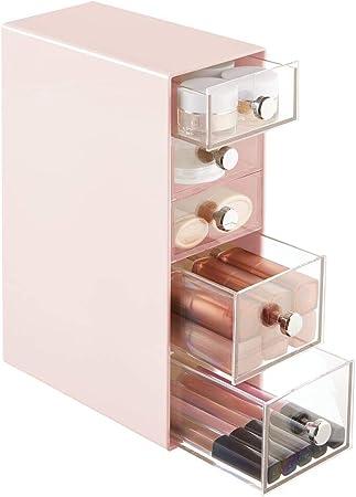mDesign Organizador de maquillaje – Caja de almacenamiento con 5 cajones para rímel, polvos, pintaúñas, etc. – Organizador de cosméticos para baño, tocador o despacho – rosa y transparente: Amazon.es: Hogar