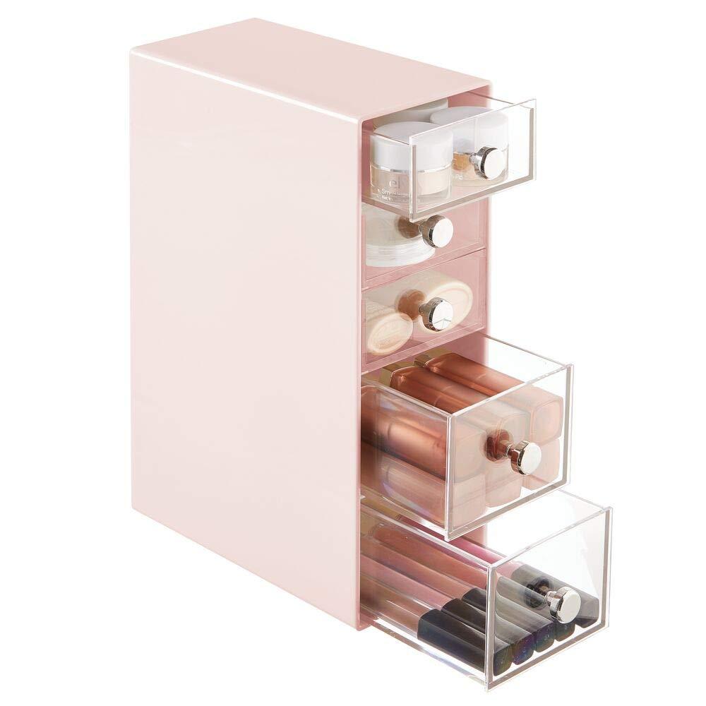 Pr/áctico organizador plastico con 5 cajones Ideal para almacenar sus cosm/éticos y productos de belleza mDesign organizador de maquillaje color blanco