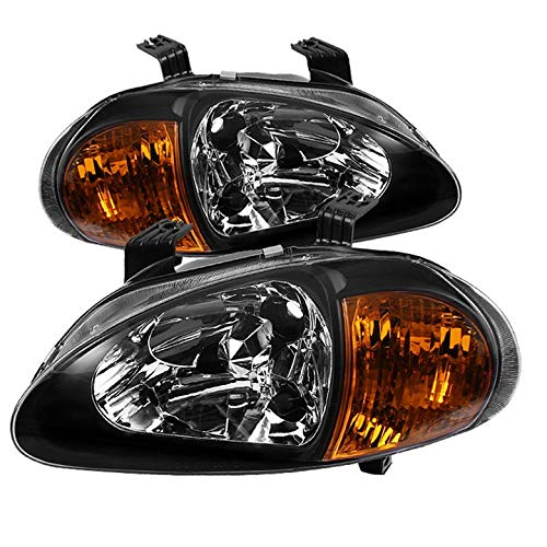 For 1993-1997 Honda Del Sol 2in1 Amber Corner Headlights Head Lights Black Set Pair