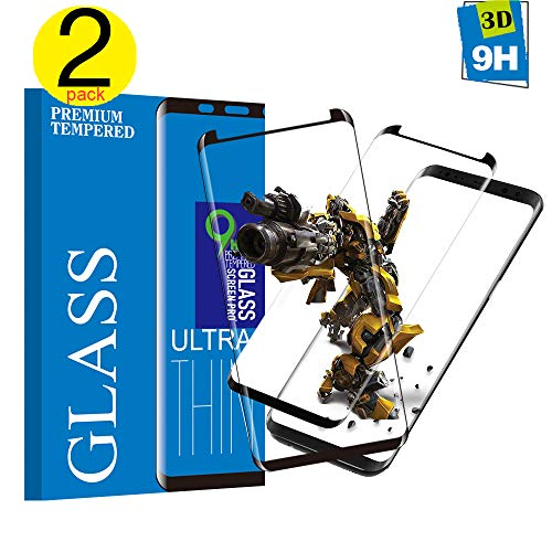 Tjicui Samsung Galaxy S8 Panzerglas Schutzfolie, Qualität 3D Gehärteter Glas panzerfolie[2 Stück] [HD Klar] [Anti-Kratzen] [Anti Fingerabdruck] 3D Displayschutzfolie Folie für Samsung Galaxy S8