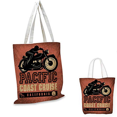"Adventure canvas laptop bag Pacific Coast Cruise California Motorcycle Driving Journey Traveling Hand Drawn canvas tote bag with pockets Ruby Black. 12""x15""-10"""