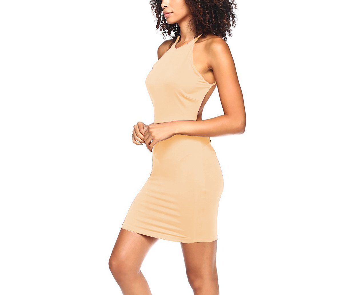 Glass House Apparel Women's Backless Cocktail Halter Spaghetti Strap Bodycon Dress (Nude, Medium)