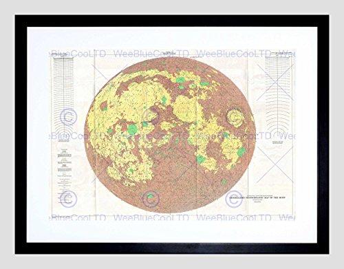MAP ILLUSTRATED ANTIQUE USGS GEOLOGIC MOON FRAMED ART PRINT B12X4992 ()
