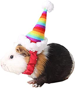Mummumi Small Pet Holiday and Christmas Hat, Puppy Dog Santa Hat Costume Christmas Collection Pet Accessories for Cat Rabbit Hamster Guinea Pig, Small, Red